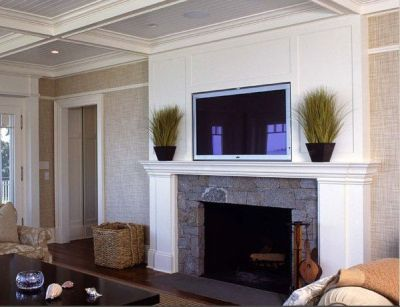 beadboard-backed coffered ceiling, white paneled fireplace and gorgeous grasscloth wallpaper ...