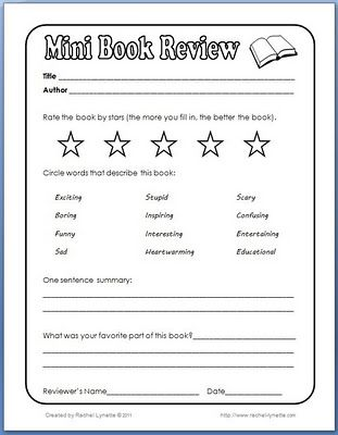 Mini Book Review form Reading Pinterest Book review - printable book review template