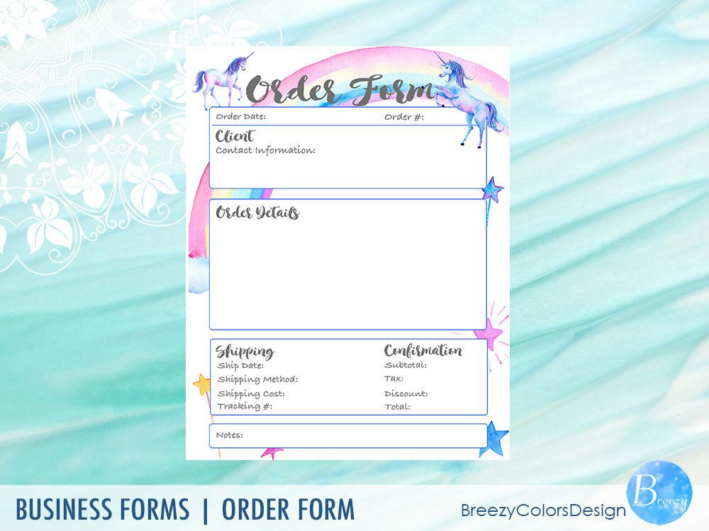 Unicorn Printable Order Form Templates, Craft Show Business - client information form template