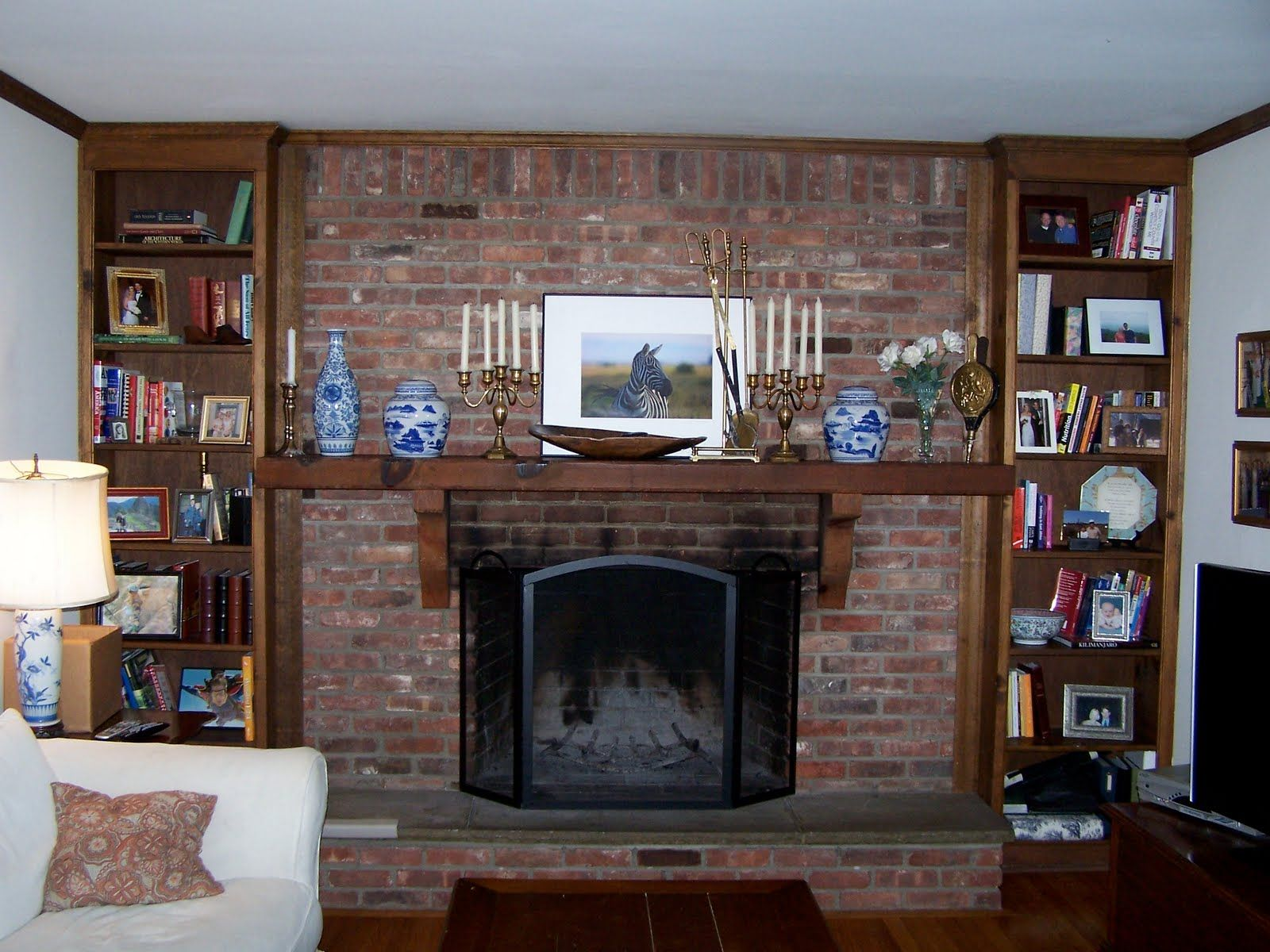 ideas red brick fireplace download