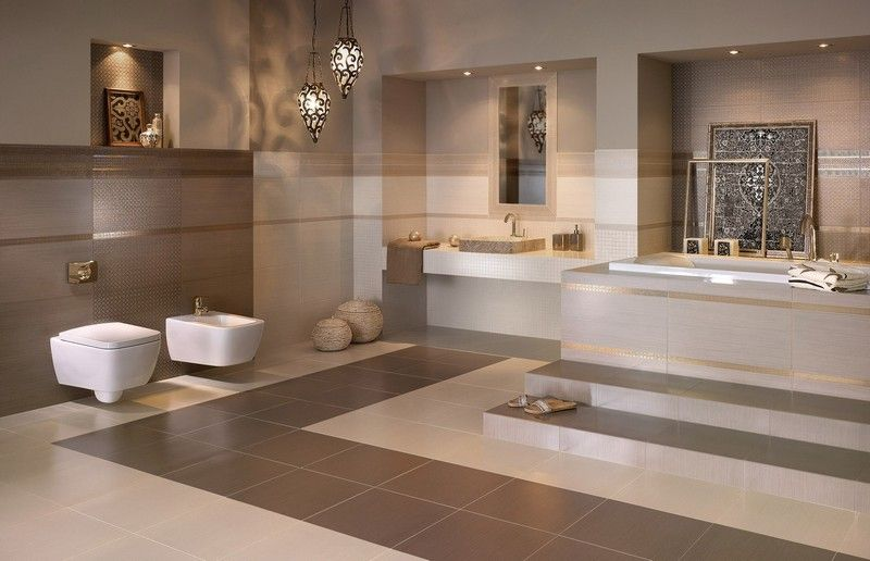 Badezimmer mit warmen beige-braunen Nuancen gestalten Bad - badezimmer modern gestalten