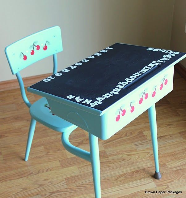 Paint The Top Of The Kids Desks With Chalkboard Paint