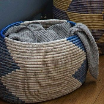 woven west african storage basket - perfect for living room - living room blanket storage