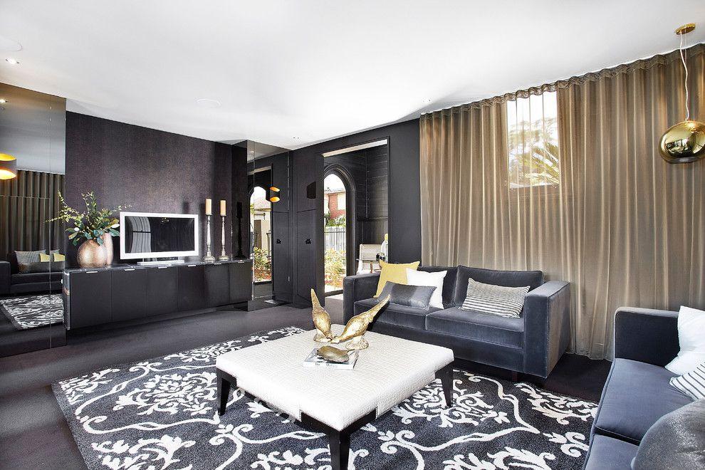 grey-sofa-living-room-Living-Room-Contemporary-with-area-rug-black - grey living room rug