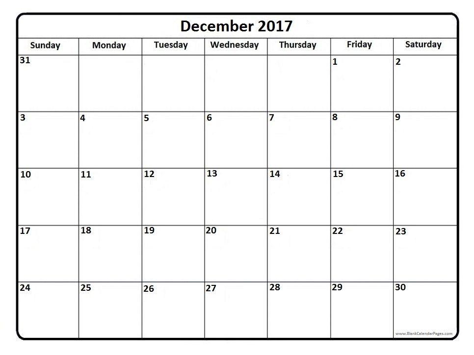 December 2017 printable calendar page  - preschool calendar template