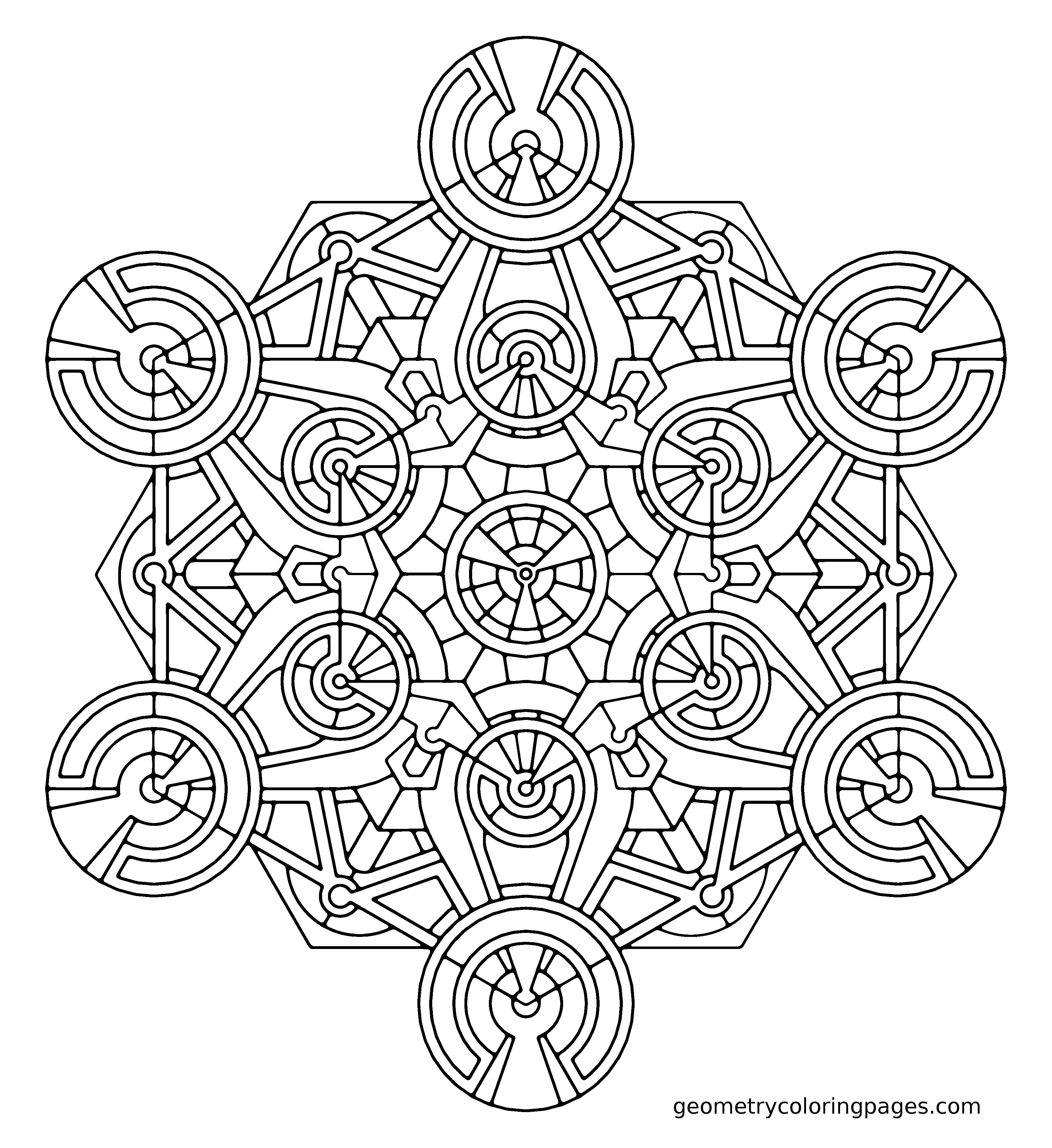 Coloring page metatron s generator from geometrycoloringpages com