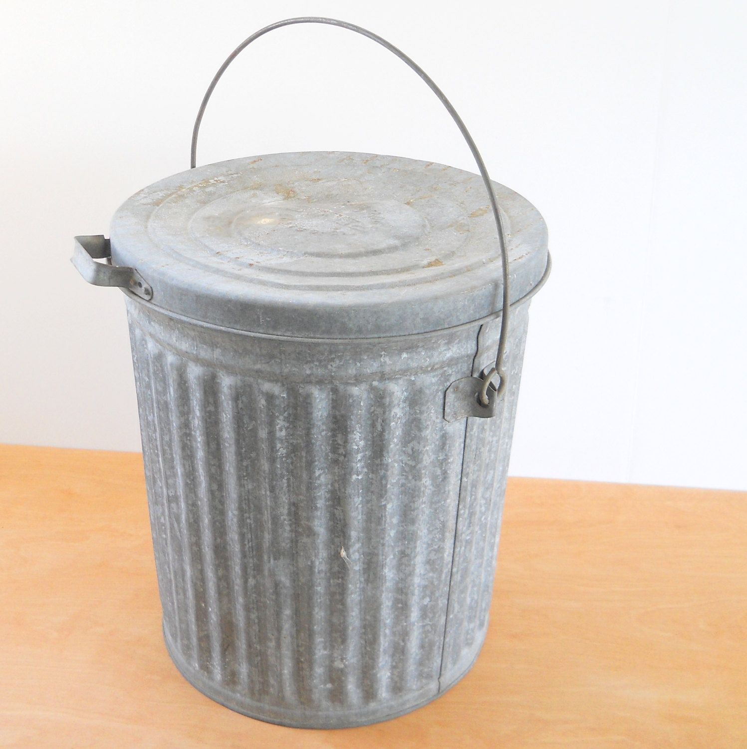Vintage Kitchen Trash Can Vintage Reeves Galvanized Trash Can Industrial Rustic