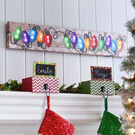 Merry Christmas Light LED Canvas Art Print Kirklands Christmas - kirklands christmas decor