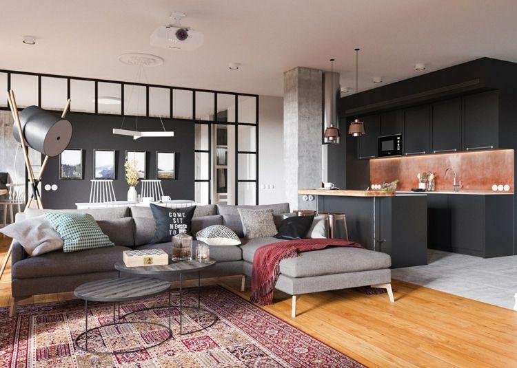 Inspiration für eine schwarze Küche mit Kupfer Livingroom - inneneinrichtungsideen wohnzimmer kuche