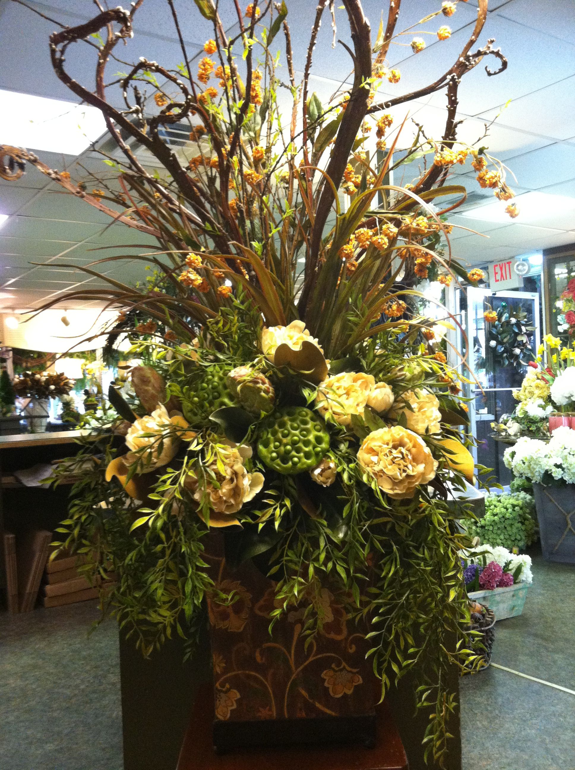 How To Make A Silk Floral Arrangement Large Silk Floral Arrangement Floral Designs Pinterest