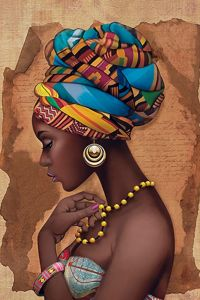 """""""African Yellow Necklace"""" - French Art {figurative ..."""