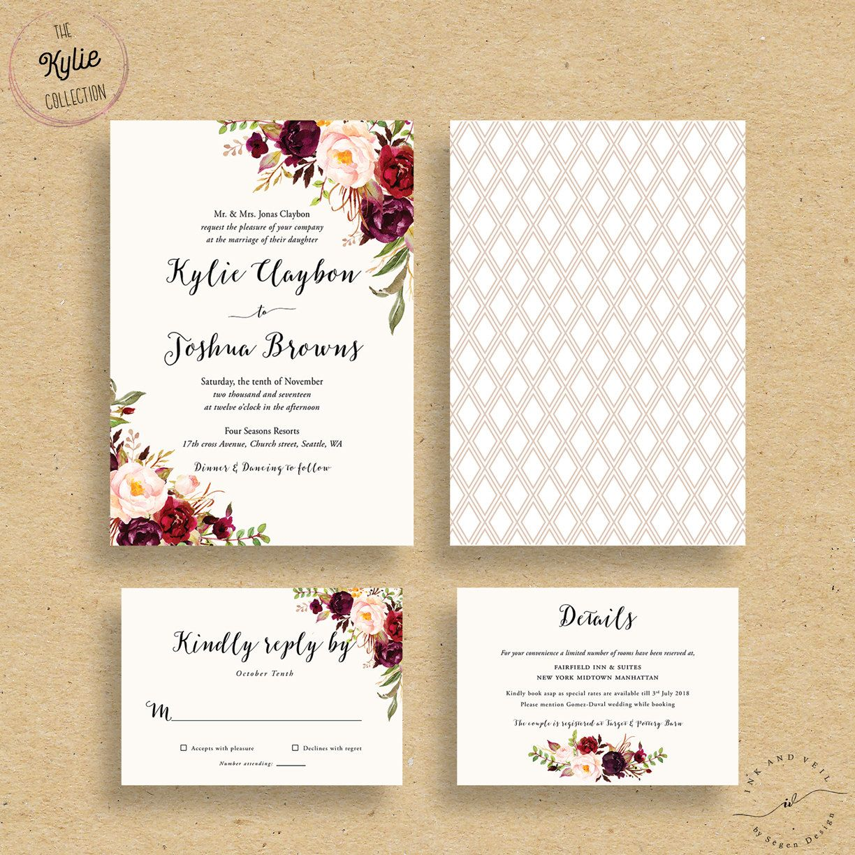 custom wedding invitations The Kylie Collection Impress your future wedding guests with this gorgeous professionally designed CUSTOM WEDDING INVITE SUITE featuring a stunning