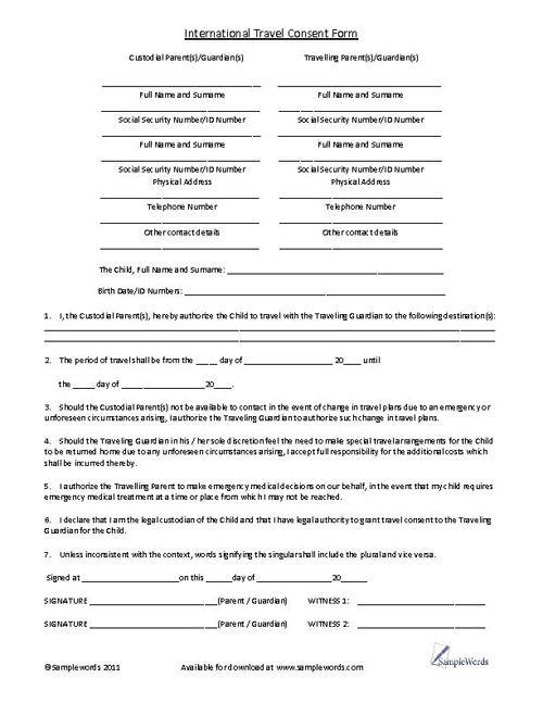 Child International Travel Consent Form Stony, Child and Parents - free child travel consent form template