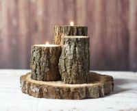 Rustic Log Candle Holder Rustic Home Decor Wood door ...