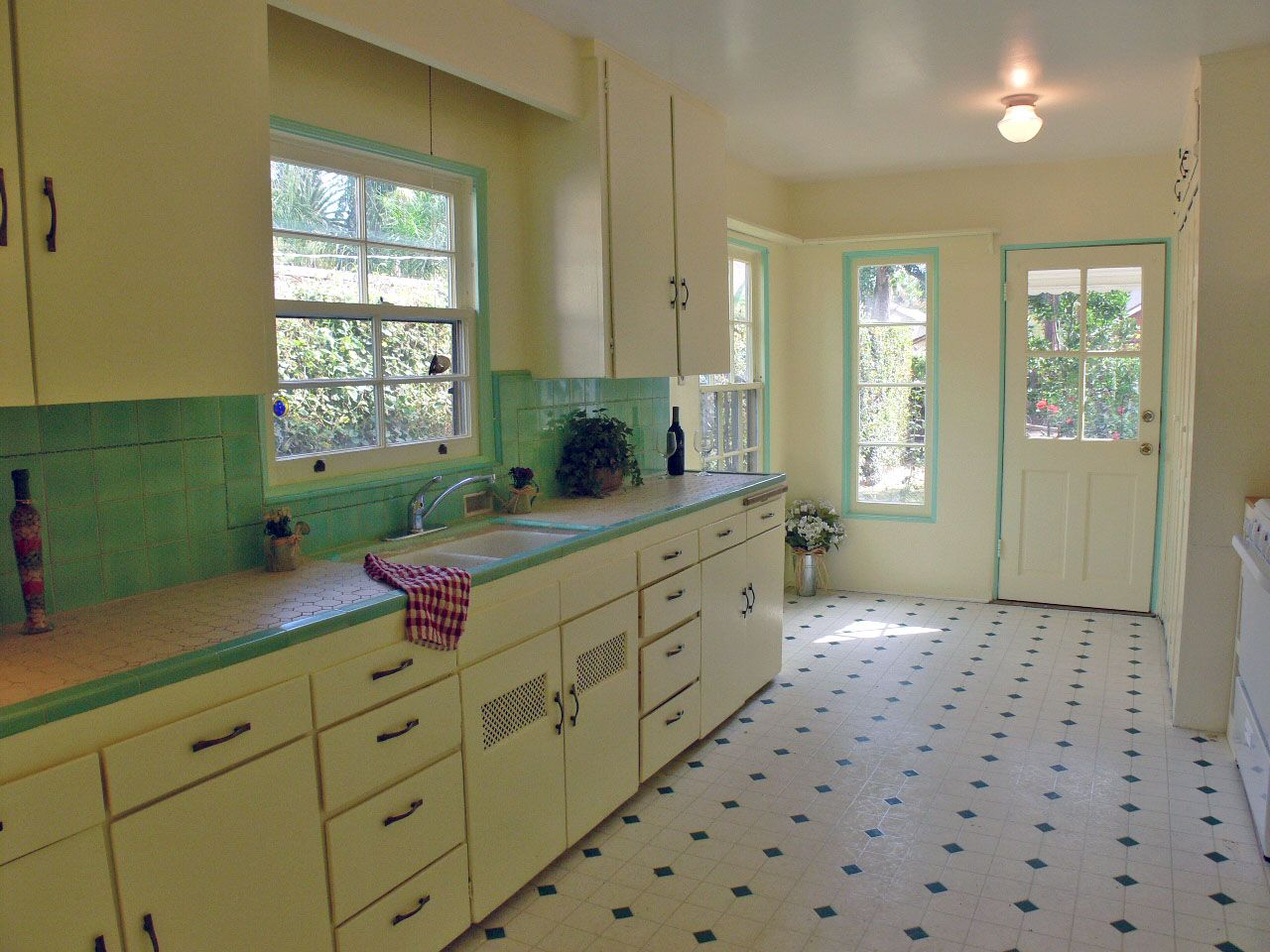 tile kitchen countertops Darling kitchen with original honeycomb tile countertops