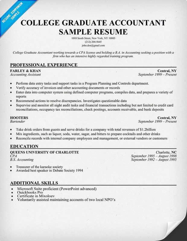 College Graduate Accountant Resume Sample Resume Samples Across - accounting student resume