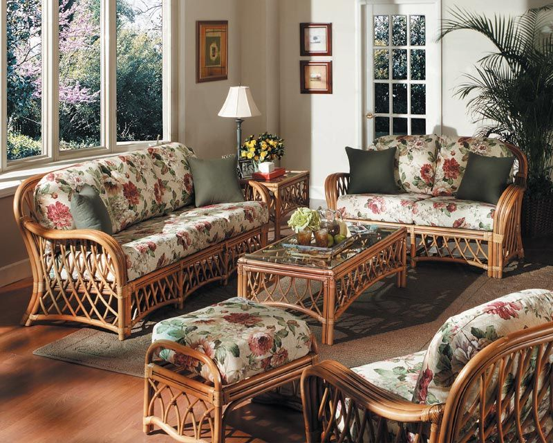 Country Living Room With Rattan Sofa And Floral Fabric Sofa - country living room sets