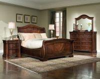 Wonderful Cherry Brown Sleigh Bedroom Sets Whtie Bedding ...