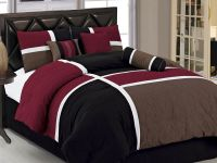 7pcs Burgundy Brown Black Quilted Patchwork Bed in a Bag ...