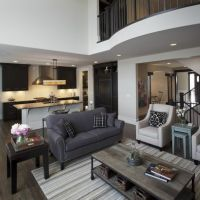 white living room with dark hardwood floors & grey couch