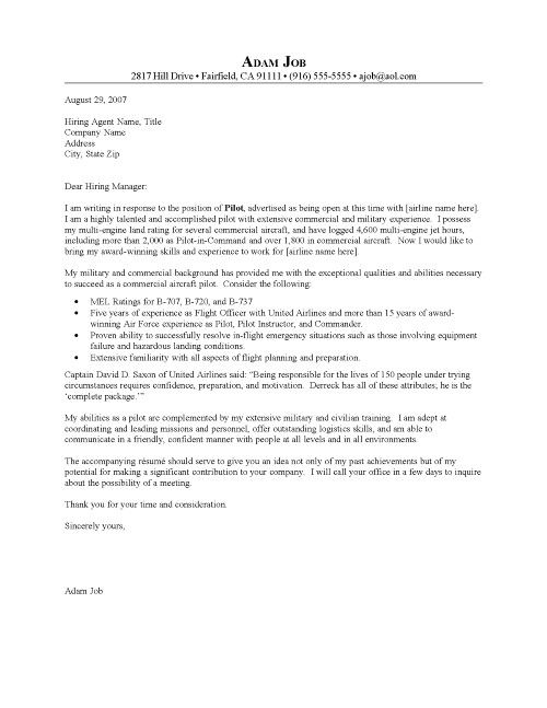examples of a cover letter for a pilots resume Pilot Cover - cover letter in resume
