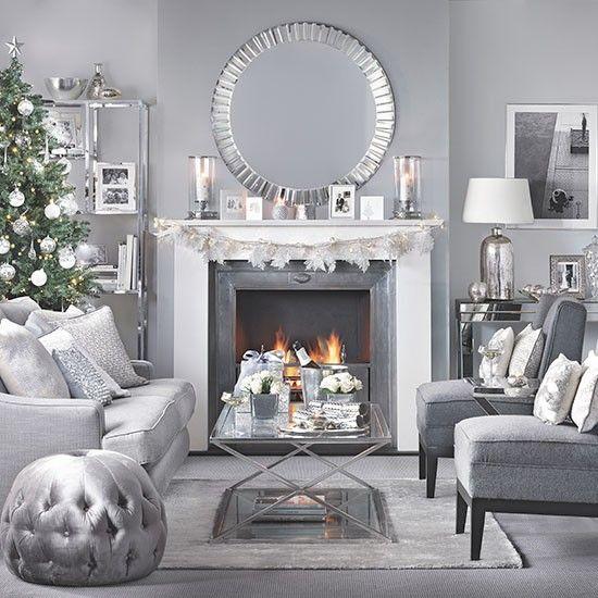 Silver and grey Christmas living room Christmas living rooms - silver living room furniture