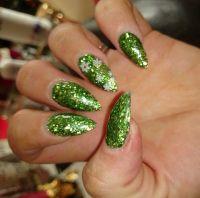 Green glitter winter snowflake Christmas nails stiletto ...