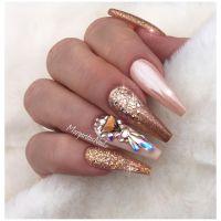 Rose gold coffin nails Fashion nail art design #nails # ...
