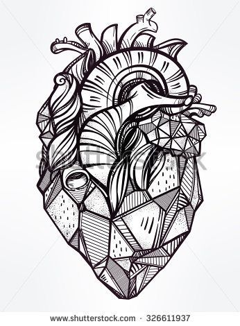 Heart of stone, highly detailed vintage style hand drawn line art - tattoo template