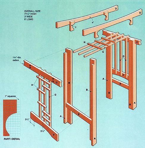 Cedar Oriental Arbor Plans Landscape Structures, Yard Games - garden arbor plans designs