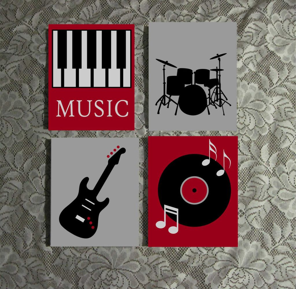 Music Themed Decor Music Themed Wall Art Hand Painted Canvas Music Room