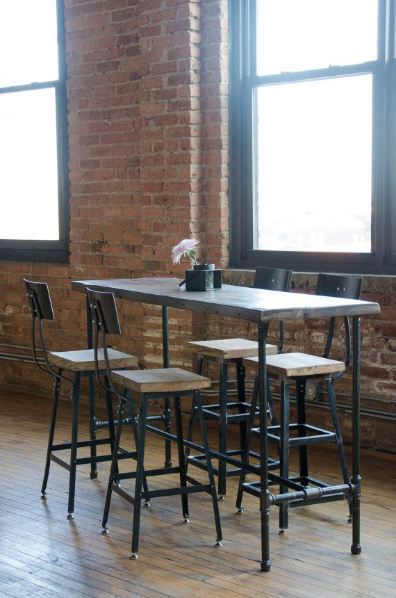 Tall Kitchen Island Table Bar Table With Pipe Legs In Your Choice Of Sizes Or