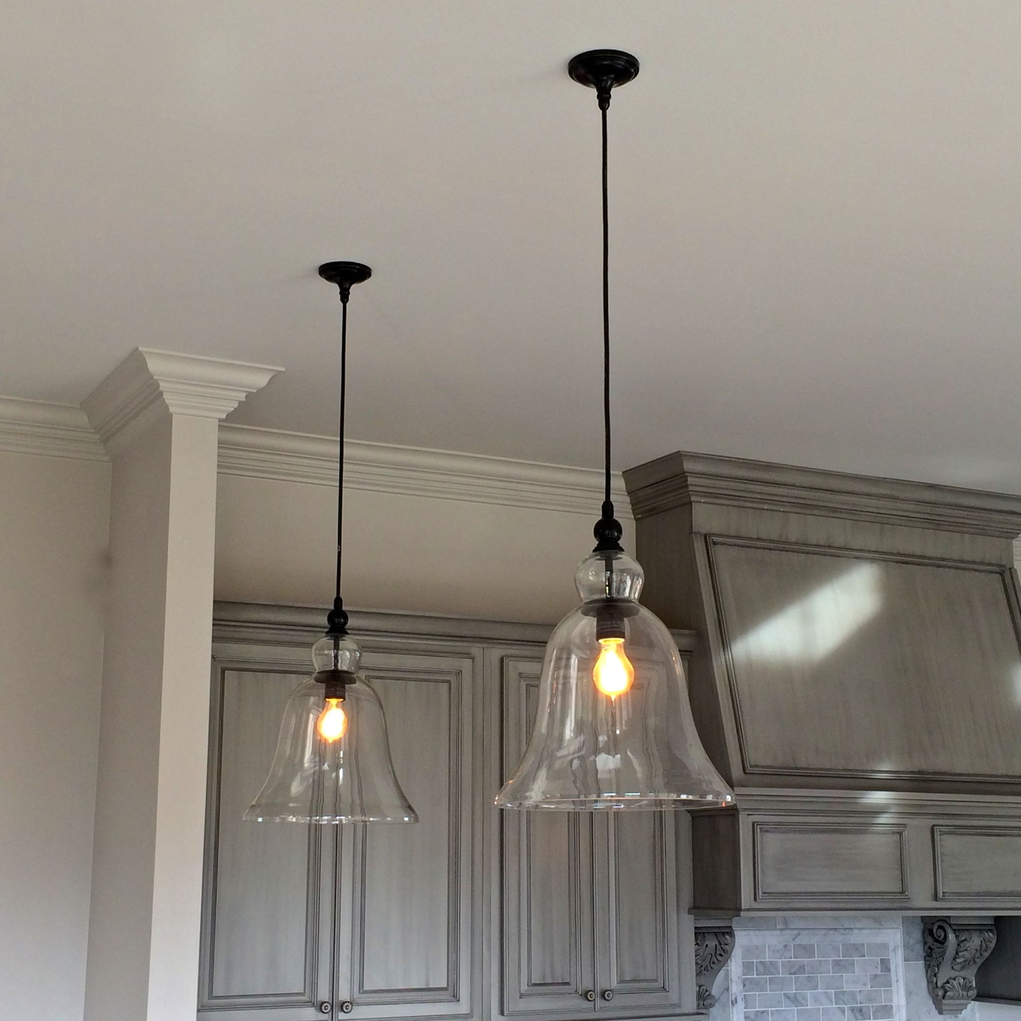 Kitchen Pendant Lighting Glass Above Kitchen Counter Large Glass Bell Hanging Pendant