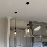Above Kitchen Counter Large Glass Bell Hanging Pendant ...