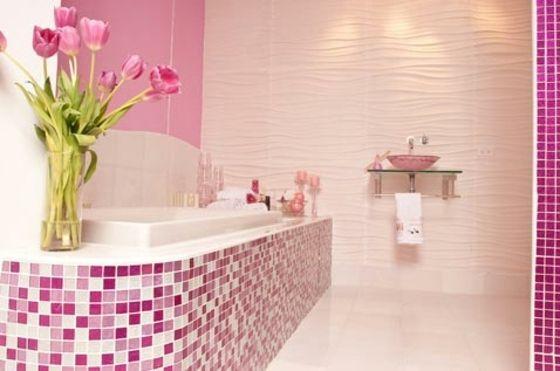 individuelle Farbe für Mosaik Fliesen im Bad Badezimmer - badezimmer pink
