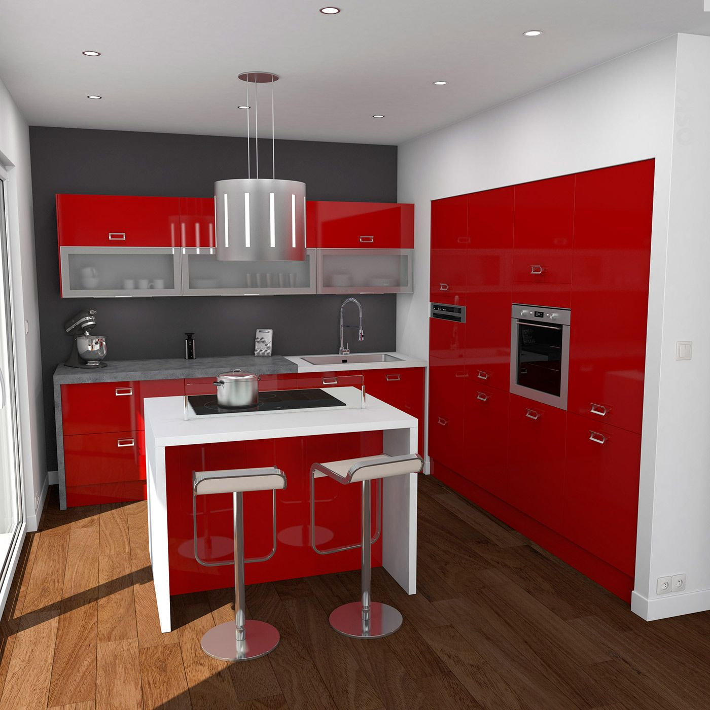 Cuisine Moderne En L Cuisine Rouge Moderne Finition Brillante Implantation En