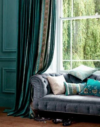 Blue bohemian curtain Incredible Boho Home Pinterest - turquoise curtains for living room