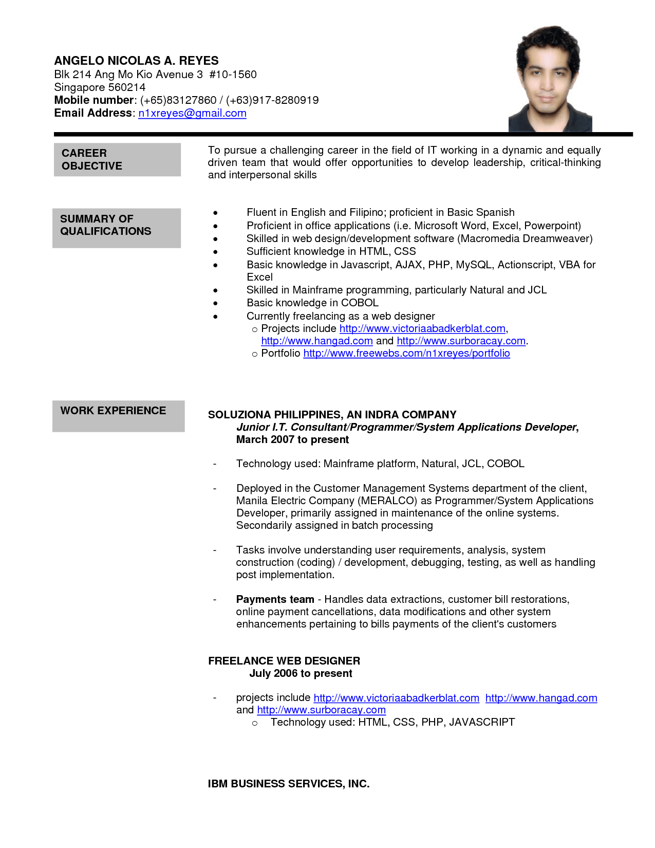 Work Resume Template Singapore corporate trainer resume examples – Resume Format Singapore