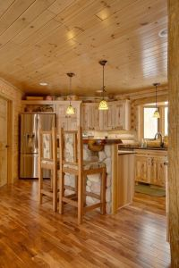 rustic kitchen design ideas hickory cabinets hardwood ...