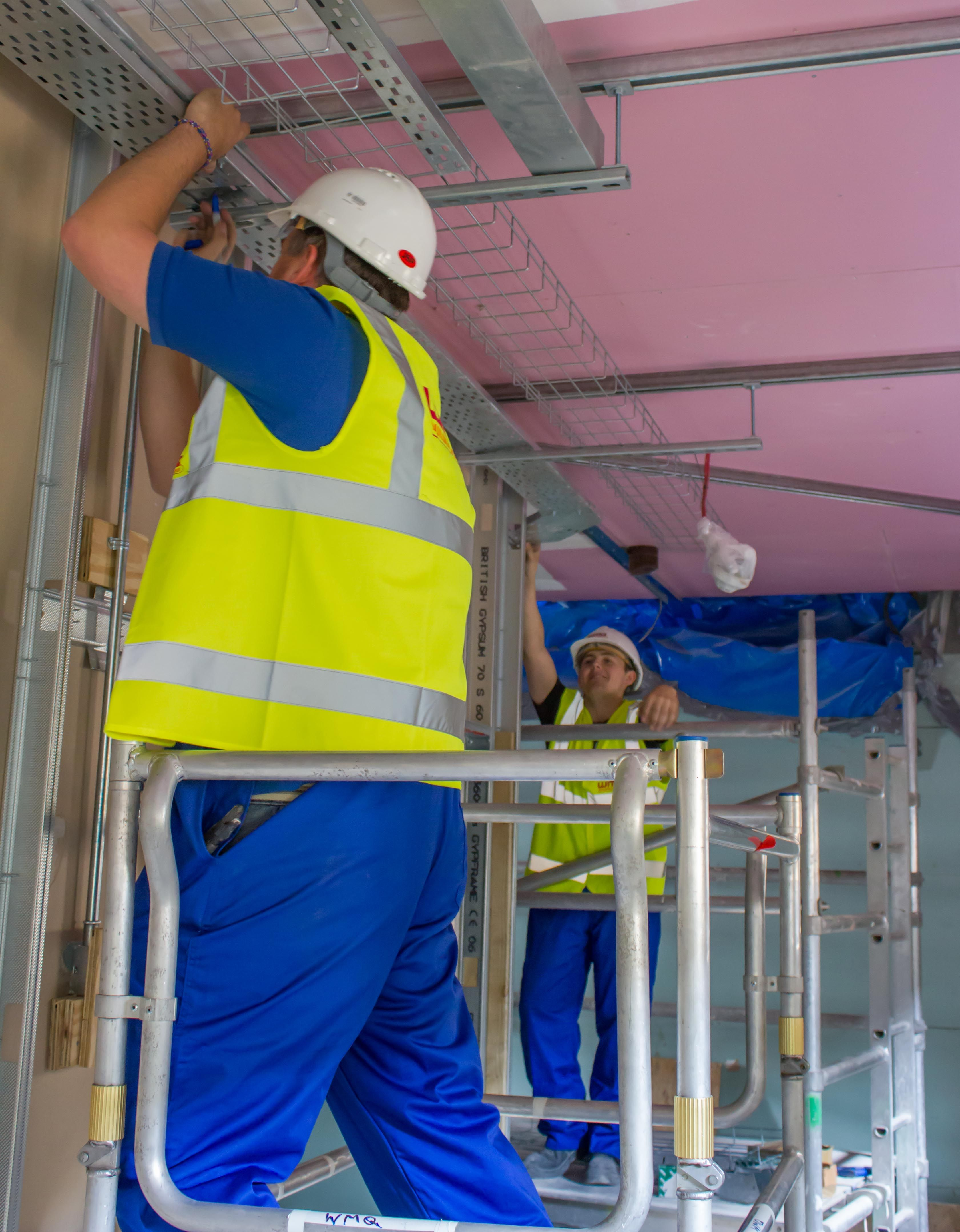 Cable Tray Installation Nice Pink Ceiling Cable