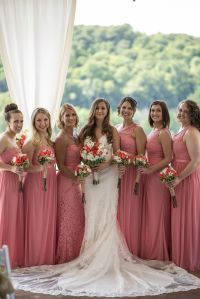 Summer wedding. Coral bridesmaids dresses. David's bridal ...