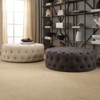 Knightsbridge Round Linen Tufted Cocktail Ottoman with ...