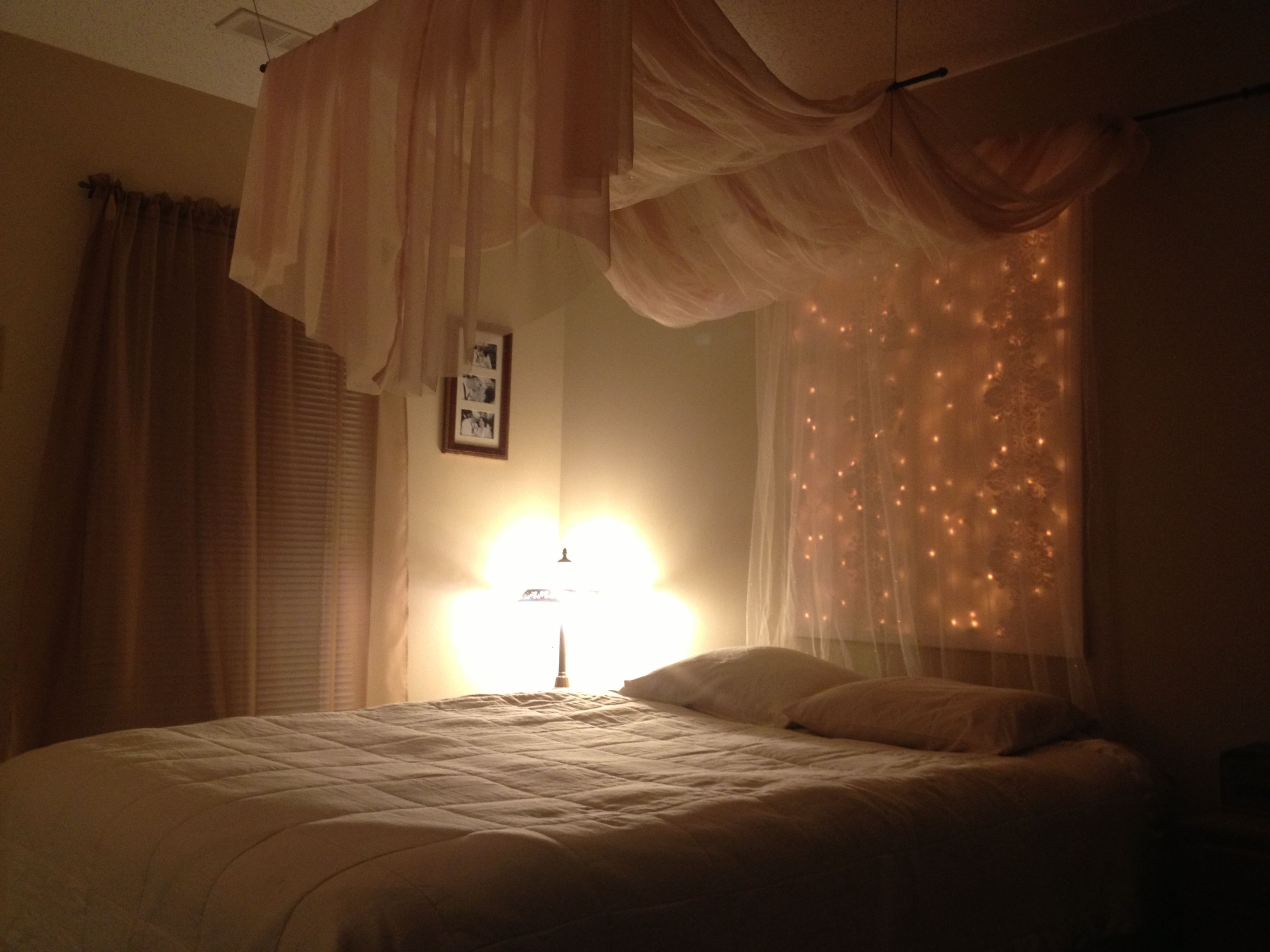 Curtains On Wall Behind Bed Canopy With Lights Something Like This Might Be Good To