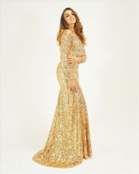 Crushed Sequin Gold Long Sleeve Mermaid Maxi Dress
