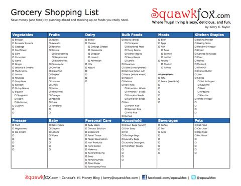 Printable Grocery Shopping List Shopping lists, Printable - shopping lists