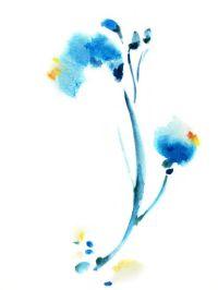 Minimalist Flower - Watercolor Painting Art Print ...