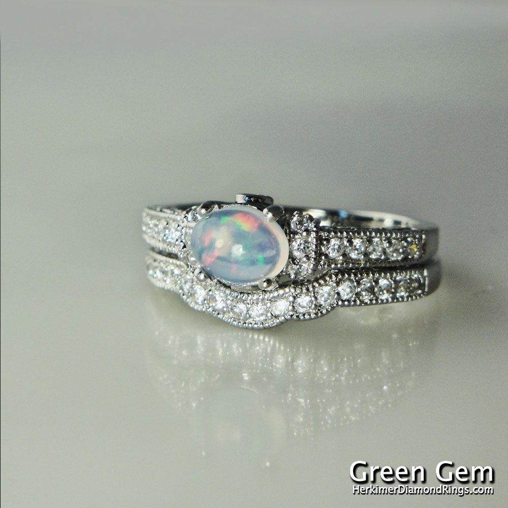 opal wedding ring sets Opal Engagement Rings Opal Engagement Ring and Matching Wedding Band Sterling Silver