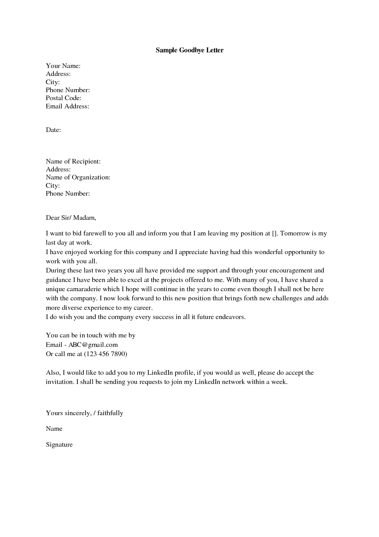 Goodbye Letter From Work - Apology Letter 2017