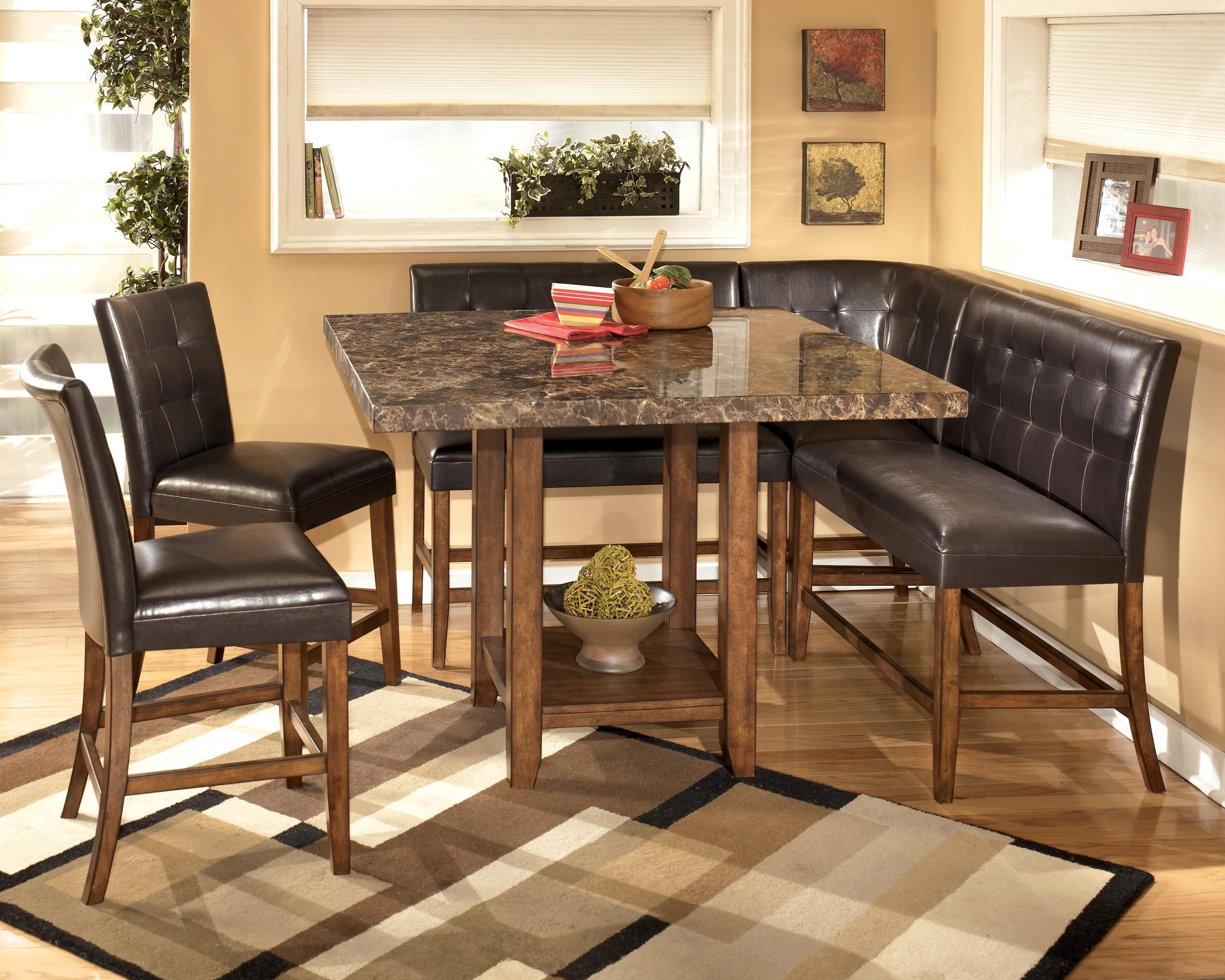 kitchen dining tables Lacey Corner Counter Height Dining Room Set by Signature Design in Casual Dining Sets The rich contemporary design of the Lacey dining room collection