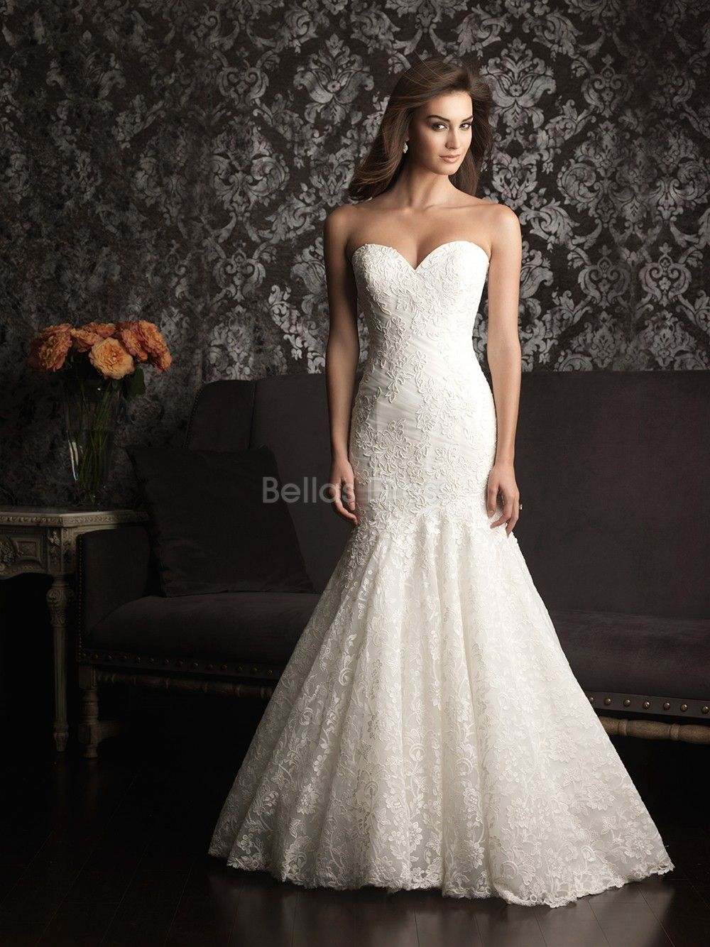 sweetheart wedding dresses Luxurious Mermaid Lace Court Train Sweetheart Wedding Dresses With Buttons